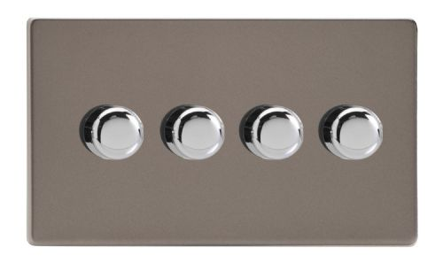 Varilight JDRDP254S Screwless Pewter 4 Gang 2-Way Push-On/Off LED Dimmer 0-120W V-Pro